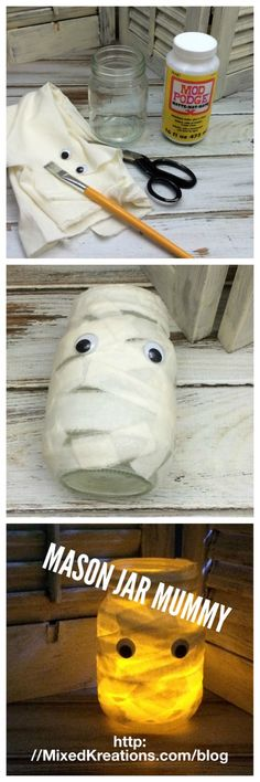 How to make a fun Mummy lantern for Halloween out of a mason jar, and fabric strips. #Repurposed #MasonJar #Halloween #MummyLantern