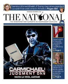 """""""Wednesday's The National front page: Carmichael: Judgment Day National Front, Bbc, Wednesday, December, Twitter"""