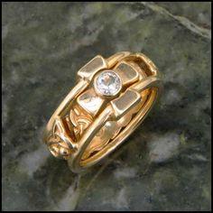 14K Gold Celtic Engagement ring and Wedding band interlocking set with a diamond.