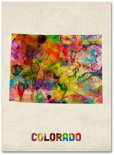 Every color of the rainbow paints this magnificent watercolor-inspired state map canvas wall art from Trademark Fine Art. <ul> <li>Fun state design PRODUCT DETAILS</li> <li>Canvas, wood</li> <li>Vertical display</li> <li>Attached sawtooth hook</li> <li>Wipe clean</li> <li>Model no. C1419GG</li> </ul>