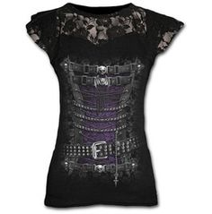 Brand New Black Goth Vampire Skull Top T Shirt $44.33