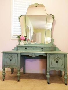 Beautiful refinish in soft duck egg blue and lightly distressed. Saw this on CraigsList and had to PIN it!