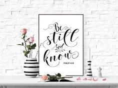 Be still and know Printable wall art print Bible verse art Scripture quote Bible verse print Digital home decor bible verse Psalm 46:10 by TheBlackCatPrints on Etsy