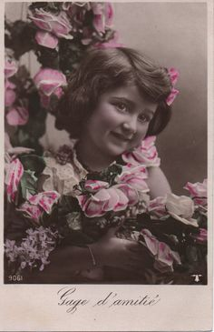 Rosebud cutie, French girl, Friendship, real vintage photo, French postcard, tinted photo, pink white roses, hand coloured  (rppc/ch387)