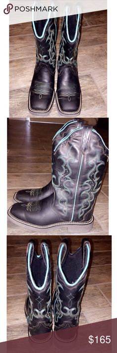 Black and Turquoise Cowboy Boots In great condition worn a handful of times   Size: 7.5 B  Height: 11 inches  Gypsy Collection  Justin Boots  Black Crazy Horse     Tags: Cowboy boots Western  Country Girly  Victoria's Secret Western wear Western belts Miss Me Buckle Uggs Cowgirl Hunting  Realtree Mossy oak John Deere  Cabelas Rock Revival  True Religion Rock and Roll cowgirl Shipping  Makeup  Beauty  PINK VS Forever 21 American Eagle Justin Boots Shoes Heeled Boots