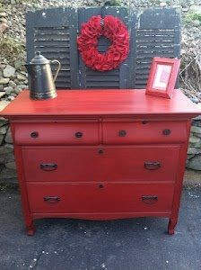 Amazing color for an old dresser.  You just can't go wrong with red!