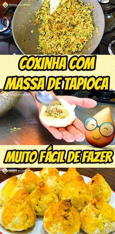COXINHA COM MASSA DE TAPIOCA – FICA MUITO GOSTOSO! FÁCIL DE FAZER #coxinha #coxinhafacil #salgado #receita #receitafacil #receitas #comida #food #manualdacozinha #aguanaboca #alexgranig