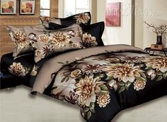 Camel 4 Pieces Comforter Bedding Sets with Various Flowers Printing
