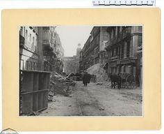Efectos de los bombardeos de la aviación rebelde en la calle Preciados, de Madrid. Archivo Rojo.