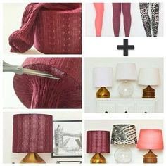 Spray paint an outdated lamp and cover the old shade with cute leggings or the arm of an old sweater! Cheap and quick way to update your decor!