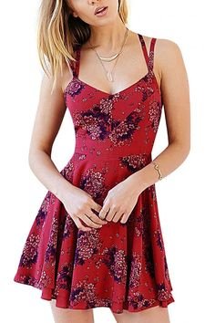 Floral Print Layer Strappy Back Cami Skater Dress -YOINS