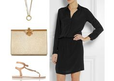 Spring Styling  Bag - W&G 'Coco Cream Leather' clutch bag Dress- Dagmar lisen textured satin-crepe shirt dress Sandals - Ismene metallic leather sandals Necklace - Phoebe Coleman 'Eternal' necklace