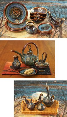 Swirl Dinnerware:  From the artisan studio of potter Colm de Ris comes this extraordinary hand-thrown and hand-built tableware. Luminous glaze in the deep blues, purples, and umbers of twilight melds with delightfully unexpected shapes, finely crafted, to transform your table into a work of art. Handmade in Dublin, Ireland.