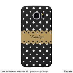 Cute girly phone case, White polka dots on black, personalize with your name, scripted in white on the gold ribbon.