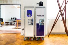 bordbar airlintrolleys perfect for the nespresso machine in the office or as a bar. You can equip it with LED shelf, aluminium or plastic drawer, shelf for nespresso capsules, ... Also available in differt designs.