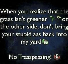 When you realize that the grass isn't greener on the other side, don't bring your stupid ass back into my yard. No trespassing! Words Quotes, Wise Words, Me Quotes, Funny Quotes, Random Quotes, Funny Pics, Funny Stuff, Hilarious, It's Funny
