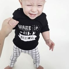 Awesome outfit! Tee & pants available at: www.vanpauline.nl  Monochrome, grid, black white, kids, baby, babyclothing, wake up awesome,