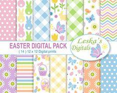 Easter Digital Paper Pack, Easter Paper Pack, Easter Bunny Paper, Easter Scrapbook, Cute Easter Paper, Easter, Patterned Papers