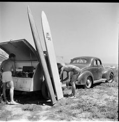 Just A Car Guy: Some classic old surf car photos Wooden Surfboard, Surfboard Art, Vintage Surfboards, John Russell, Retro Surf, Surfing Photos, Road Trip, Surf Trip, Surf Travel