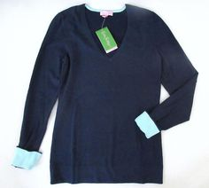 LILLY PULITZER Medium ANNETTE True Navy Blue V Neck Sweater NWT New Med M #LillyPulitzer #VNeck