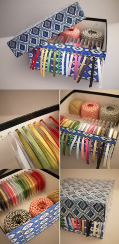 DIY Ribbon Storage Box Tutorial... very organized
