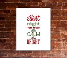 SILENT NIGHT Christmas Carol Artwork | Printable Lyrics | DIY | Red & Green