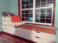 We used the STOLMEN drawers and VARDE countertop to hack a customized, built in STOLMEN bench / window seat for less than $500!