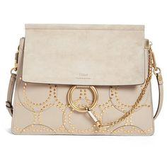 Chloe 'Medium Faye' Studded Calfskin Shoulder Bag ($2,350) ❤ liked on Polyvore featuring bags, handbags, shoulder bags, motty grey, shopping bag, studded purse, shoulder bag purse, chloe purses and shoulder handba