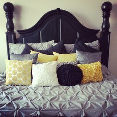 Bedroom! Gray, black, yellow and white!