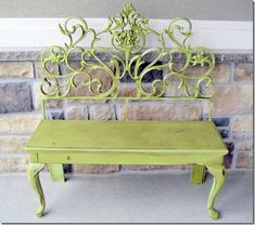Cool Headboard as Green Bench. The ornate metal headboard makes a great seat back for this outdoor bench.
