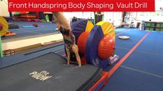 Front Handspring Body Shaping Vault Drill Shaping, and more shaping. This drill uses the Orbiter to help athletes work toward the flat body shape needed for . Gymnastics Lessons, Gymnastics Coaching, Gymnastics Workout, Acro, Vaulting, Training Tips, Body Shapes, Cheerleading, Martial Arts
