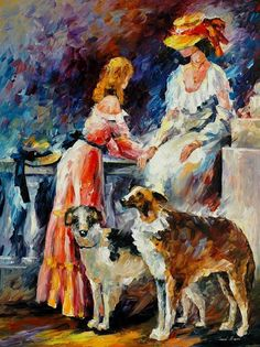 """""""Ladies in white"""" by Leonid Afremov ___________________________ Click on the image to buy this painting ___________________________ #art #painting #afremov #wallart #walldecor #fineart #beautiful #homedecor #design"""