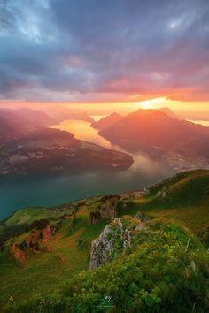 Fronalpstock by Joseph Maniquet #switzerland #swiss #evening #sunset #blue #clouds #light #sky #mountains #nature #water #panorama - Sonja P - Google+