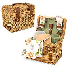 @Overstock.com.com - Picnic Time Napa-Botannica Wine-n-Cheese Picnic Basket - Picnic Times woven picnic basket, crafted from polyester and lined in green sage, is the perfect take-along for an intimate setting for two. Conveniently included are two wine glasses, a cheese knife with cutting board, and two floral napkins. $69.95