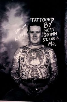 Our collection of vintage tattoos & vintage tattoo art from years past! We feature models and flash inspired by vintage & traditional tattoos as well. Sailor Jerry Tattoos, Chris Garver, 4 Tattoo, Chest Tattoo, Tattoo Life, Tattoo Shop, Bodysuit Tattoos, Monami Frost, Picture Tattoos
