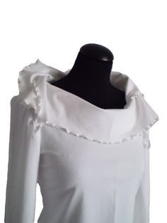 Tunic Tops – White blouse tunic of fine cotton with elastane – a unique product by Divna-Davidovic on DaWanda