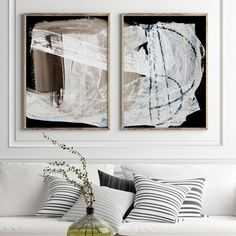 Get the high end look with this large, modern abstract set of two. Large Art Prints, Neutral Walls, All White, Room Themes, Wall Art Sets, Printable Art, Abstract Art, Paintings, Interior
