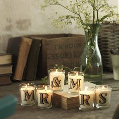 Simple way to decorate the gift table, head table or guest book table for a or wedding. (I always thing the more candles the better, as long a it doesn't pose a fire hazard. Fall Wedding, Diy Wedding, Wedding Reception, Rustic Wedding, Dream Wedding, Wedding Ideas, Yellow Wedding, Wedding Tables, Christmas Couple