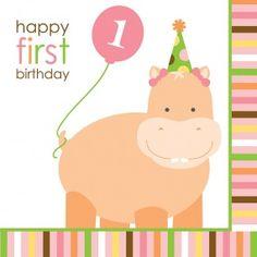 16 serviettes papier Animaux Premier Anniversaire Fille, décoration anniversaire et fêtes à thème sur Vegaoo Party