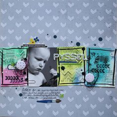Saras pysselblogg - Sara Kronqvist: Pyssel | Scrapbook layout using scraps of watercolor paper and stamping on top