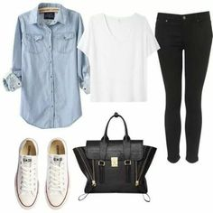 Image via We Heart It #jeans #outfit #t-shirt #tennis #winter
