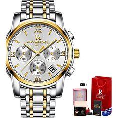 ae8b11f70f7 Homens Relógio Elegante Relógio Militar Relógio de Pulso Japanês Quartzo  Aço Inoxidável Preta   Prata   Dourada 30 m Impermeável Calendário Criativo  ...