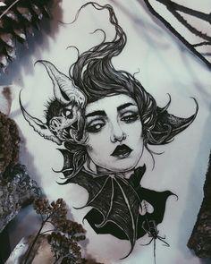 Demon Drawings, Dark Art Drawings, Blackwork, Magazine Inked, Spooky Tattoos, Full Back Tattoos, Japanese Dragon Tattoos, Sweet Tattoos, Dark Tattoo
