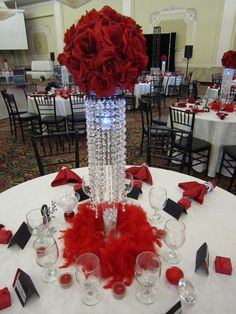 birthday party with red rose ball crystal centerpieces.The 20 Best Ideas for Birthday Party Centerpieces Crystal Centerpieces, Crystal Decor, Party Centerpieces, Wedding Decorations, Centerpiece Ideas, Flower Centerpieces, Red Wedding, Wedding Table, Wedding Ideas