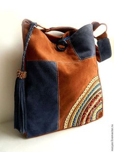 / elegant handbag / rust and denim blue / Sewing Slippers, Lace Bag, Leather Bags Handmade, Fabric Bags, Leather Projects, Girls Bags, Fashion Bags, Bucket Bag, Purses And Bags