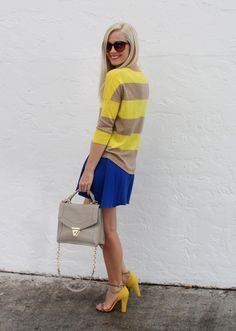 Yellow, blue and tan