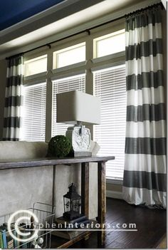 i made striped curtains from shower curtains