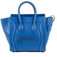 CELINE Palmelato Mini Luggage Electric Blue ❤ liked on Polyvore featuring bags and luggage