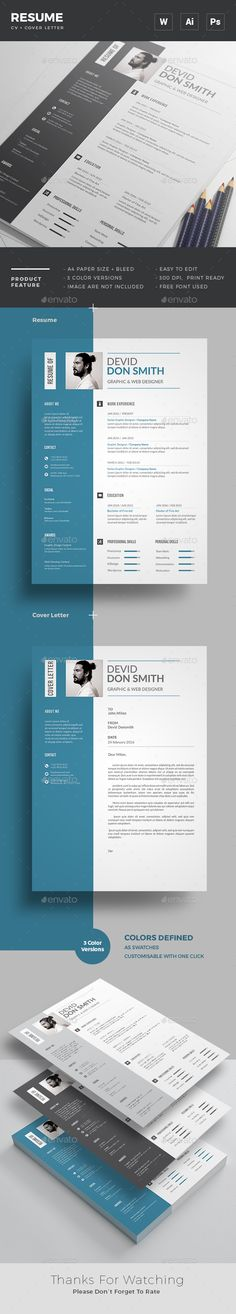 Resume / CV Template with super modern and professional look. Elegant page designs are easy to use and customise, so you can quickly tailor-make your resume for any opportunity and help you to get your job. College Resume Template, Modern Resume Template, Creative Resume Templates, Cv Template, Job Resume, Resume Work, Simple Resume, Portfolio Web, Cv Original
