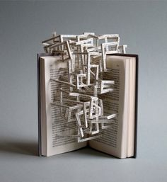 This is called Hypertext Book Sculpture created by Stephen Doyle . This book art was up for auction but I think it's already sol. Sculpture Lessons, Sculpture Art, Paper Sculptures, Paper Book, Paper Art, Cut Paper, Books Art, Libros Pop-up, Poesia Visual